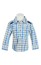 All Around Kid by Wrangler Infant/Toddler Blue Plaid Long Sleeve Western Shirt