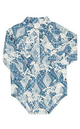 Wrangler Infant Blue and Ivory Aztec Print Long Sleeve Western Onesie