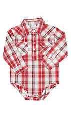 Wrangler Infant Red Plaid Long Sleeve Western Onesie