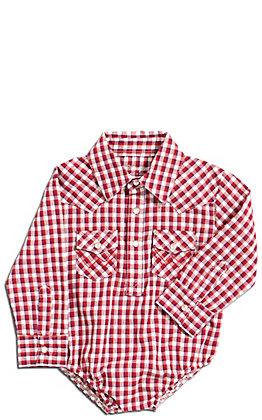 Wrangler Boys' Red, White and Blue Plaid Long Sleeve Western Onesie