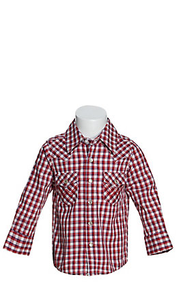 Wrangler Toddlers' Red, White and Blue Plaid Long Sleeve Western Shirt
