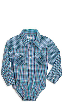 Wrangler Toddler Blue Plaid Long Sleeve Western Shirt Bodysuit
