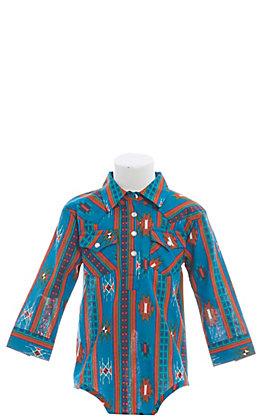Wrangler Blue Aztec Print Long Sleeve Onesie