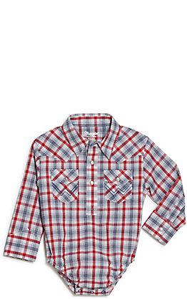Wrangler Toddler White, Red and Navy Plaid Western Shirt Bodysuit