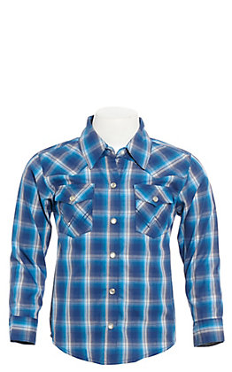Wrangler Toddlers' Blue Plaid Long Sleeve Western Shirt