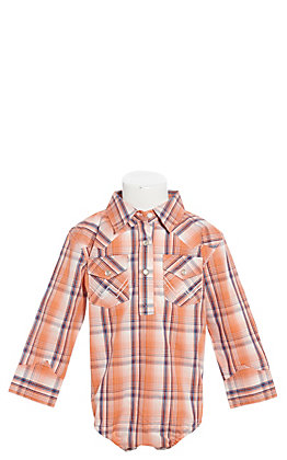 Wrangler Infant Orange and Blue Plaid Long Sleeve Western Shirt
