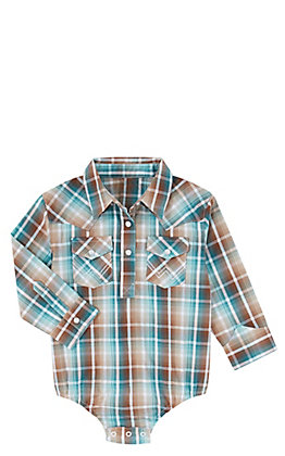Wrangler Boys' Teal & Brown Plaid Long Sleeve Western Onesie