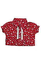 All Around Baby By Wrangler Infant/Toddler Red Ditsy Tie Front Short Sleeve Top