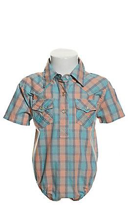 Wrangler Boys' Turquoise and Orange Plaid Short Sleeve Western Onesie