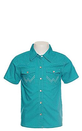 Wrangler Toddler Boys Teal with White Print Short Sleeve Western Shirt