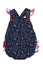 Wrangler Girl's Navy and Red Paisley Print Sleeveless Romper Onsie