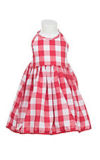 Wrangler Girl's Red and White Plaid Sleeveless Halter Dress