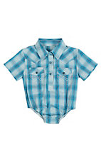 Wrangler Infant Blue Plaid Short Sleeve Western Snap Onsie