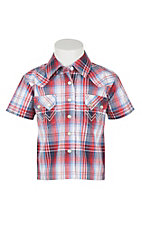Wrangler Boy's Red and Blue Plaid Short Sleeve Western Snap Shirt