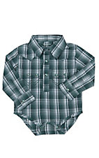 Wrangler Infant Green & White Plaid Long Sleeve Western Bodysuit