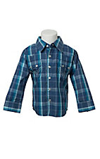All Around Baby By Wrangler Infant/Toddler Blue Plaid Long Sleeve Western Shirt