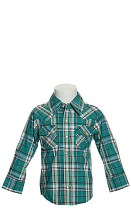 Wrangler Toddlers' Teal, Black and White Plaid Long Sleeve Western Shirt