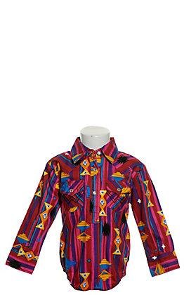 Wrangler Girls' Pink Aztec Print Long Sleeve Western Onesie