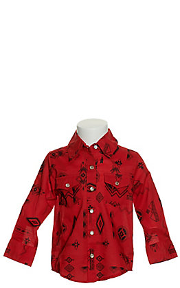 Wrangler Toddlers' Red with Black Aztec Print Long Sleeve Western Shirt