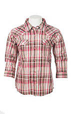 Wrangler Girls Pink Plaid Long Sleeve Western Shirt