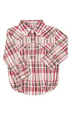 Wrangler Infant Pink Plaid Long Sleeve Western Snap Onsie