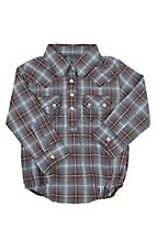 Wrangler Infant Navy Plaid Long Sleeve Western Snap Onsie