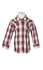 Wrangler Infant Maroon Plaid Long Sleeve Western Shirt