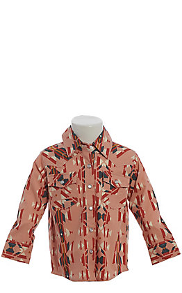 Wrangler Toddler Girls' Checotah Blush Aztec Print Long Sleeve Western Shirt