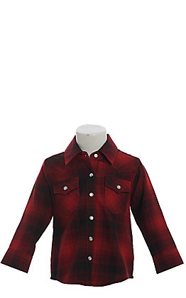 Wrangler Toddler Boys' Red & Black Buffalo Plaid Long Sleeve Western Shirt