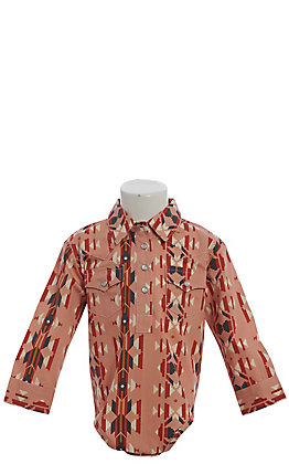 Wrangler Toddler Girls' Checotah Blush Aztec Print Long Sleeve Western Onesie