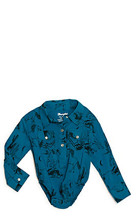 Wrangler Infant Turquoise Western Print Western Body Suit