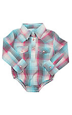 Wrangler Infant Pink and Blue Plaid Western Snap Onesie