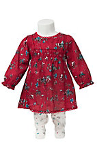 Wrangler Infant/Toddler Red Western Print Dress with Leggings