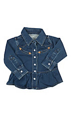 Wrangler Infant Girl Denim Long Sleeve Ruffle Dress & Matching Diaper Cover