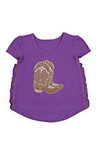 Wrangler Girl's Purple w/ Brown Boots Short Sleeve Scoop Neck Tee