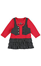 Wrangler All Around Baby Girls Red Knit with Black Chambray Vest &  Ruffle Skirt Long Sleeve Dress