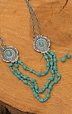 Silver Layered Turquoise Bead Concho Necklace & Earrings Jewelry Set PR003