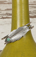 Silver Feather with Turquoise Stonge Hinge Bracelet PR011