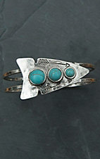 Antiqued Silver Arrowhead with Turquoise Stones Hinge Bracelet