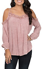 Vintage Havana Women's Mauve Cold Shoulder Top