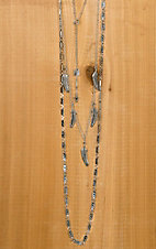 Silver Feather Layered Necklace & Earrings Jewelry Set PR070