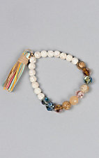 Amber's Allie Natural Beaded Stretch Bracelet