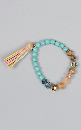 Amber's Allie Turquoise Beaded Stretch Bracelet