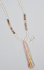 Amber's Allie Natural Beaded Tassel Neck & Earring Jewelry Set