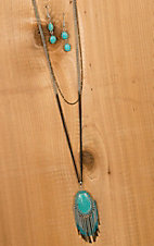Turquoise Stone with Fringe Necklace & Earring Set PR265