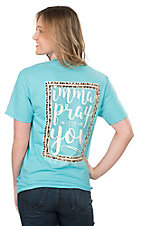 Girlie Girl Originals Women's Blue Pray for You Screen Print Short Sleeve T-Shirt