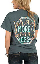 Girlie Girl Originals Women's Heather Charcoal Pray More Short Sleeve Tee