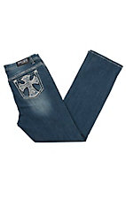 Grace in LA Women's Medium Wash Plus Straight Crystal Cross Open Pocket Boot Cut Jeans