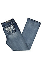 Grace in LA Women's Light Wash with Silver Aztec Embroidery Open Pocket Boot Cut Jeans - Plus Size
