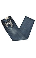 Grace in LA Women's's Medium Wash with Sequin and Rhinestone Swirl Leaf Embroidery Open Back Pocket Boot Cut Jeans - Plus Size